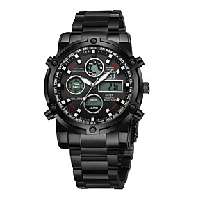 Недорогие Фирменные часы-SKMEI Муж. Для пары Спортивные часы Нарядные часы Кварцевый Роскошь Защита от влаги Нержавеющая сталь Черный / Серебристый металл Аналоговый - Черный Синий Серебряный / С тремя часовыми поясами