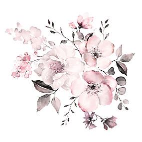 hesapli Dekorasyon Etiketleri-Suluboya pembe çiçek / botanik duvar çıkartmaları uçak duvar çıkartmaları dekoratif duvar çıkartmaları pvc ev dekorasyon duvar çıkartması duvar dekorasyon 2 adet