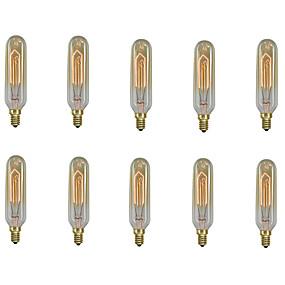 ieftine Becuri Incandescente-10pcs / 6pcs 40 W E14 T10 Alb Cald 2200-2700 k Retro / Intensitate Luminoasă Reglabilă / Decorativ Incandescent Vintage Edison bec 220-240 V