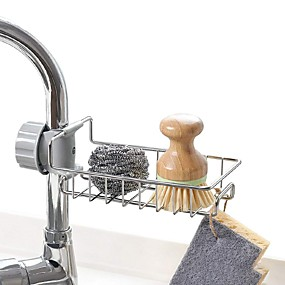 cheap Kitchen & Dining-Stainless Steel Kitchen Sponge Holder Soap Dishwashing Liquid Drainer Rack Faucet Storage Drain Basket For Bathroom Sink