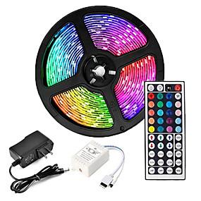 cheap LED Strip Lights-ZDM 5M LED Strip Lights Waterproof RGB Tiktok Lights 300 x 2835 8mm Flexible and IR 44Key Remote Control Linkable Self-adhesive Color-Changing