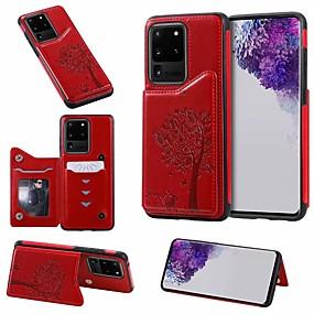 Недорогие Сортировать по модели телефона-Кейс для Назначение SSamsung Galaxy Galaxy S10 / Galaxy S10 Plus / Galaxy S10 E Бумажник для карт / со стендом Кейс на заднюю панель дерево Кожа PU