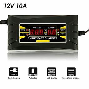 Недорогие Автоэлектроника-12v 10a 110v-240v автомобильное зарядное устройство смарт-зарядное устройство для быстрой зарядки подходит для мотоцикла жк-дисплей автозапчастей