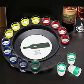 رخيصةأون المطبخ و السفرة-لعبة الشراب روسيا كازينو زجاجة النبيذ سبينر 16 أكواب مع 4 ألوان 1 مجلس