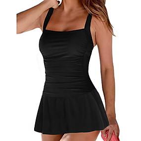 cheap Women's Swimwears-Women's One-piece Swimwear Swimsuit Bathing Suits - Solid Colored Black Blue Red Green S M L