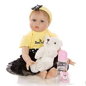 お買い得  おもちゃ & ホビーアクセサリー-KEIUMI 22 インチ リボーンドール 赤ちゃん&幼児用おもちゃ リボーン幼児ドール 赤ちゃん(女) プレゼント キュート かわいい 親子インタラクション チップとシール付きの釘 半分のシリコーンと布の本体 服とアクセサリー付き 少女の誕生日やお祭りの贈り物 / ナチュラルスキントーン / 座って横になることができます