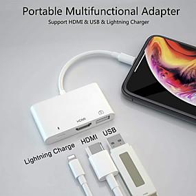hesapli USB Hubs ve Switchleri-3 in 1 iphone ipad usb adaptörü aydınlatma şarj portu ile hdmi 1080 p hdmi dijital ses av adaptörü için tv projektör monitör
