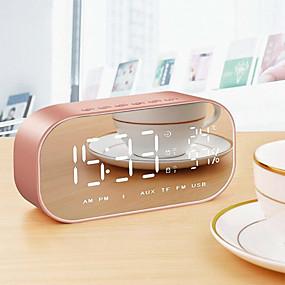 voordelige Luidsprekers-led wekker met fm radio draadloze bluetooth speaker spiegel display ondersteuning aux tf usb muziekspeler draadloos voor kantoor thuis