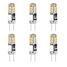 お買い得  LED 2ピン電球-6ピース3 w 24 ledシリカゲルコーンライトledバイピンライトg4 3014smd ledクリエイティブパーティー装飾クリスタルシャンデリア光源省エネ電球暖かい白白ac / dc12 v