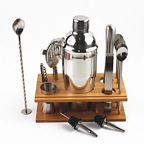رخيصةأون المطبخ و السفرة-خلاط شاكر كوكتيل وقاعدة خشبية من 14 أداة كوكتيل ستانلس ستيل 550 مل / 750 مل
