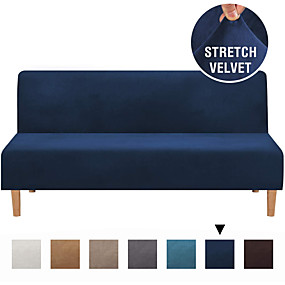 tanie Tekstylia domowe-pokrowiec na sofę pokrowiec futon ochraniacz na meble aksamitna narzuta bez ramienia pokrowiec na sofę bez podłokietników pokrowiec na sofę pokrowiec na sofę pasuje do futona dł. między 68 `` - 85 ''