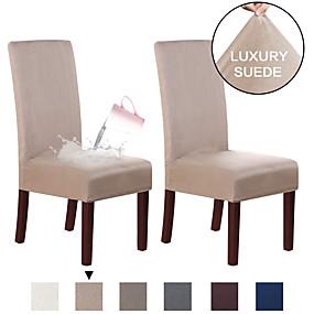 Χαμηλού Κόστους Λευκά είδη σπιτιού-καρέκλα τραπεζαρίας σουέτ καρέκλα τραπεζαρίας καρέκλα τραπεζαρίας καρότσι καρότσι καρότσι αντιολισθητικό κάλυμμα καρέκλας για τραπεζαρία σετ από 2, μαλακό τέντωμα αφαιρούμενο προστατευτικό πολυθρόνας