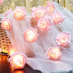 levne LED pásky-6m 40led růžová růže květ vedla víla světla svátek řetězec světla bateriový provoz valentýnské svatební party vánoční dekorace lampa bez baterie