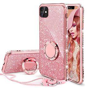 baratos Comprar por Modelo de Celular-Iphone11pro max glitter tpu luxo feminino phone case xs max com suporte de anel com cordão 6 7 8 plus se 2020 estojo de proteção