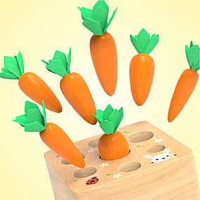 お買い得  アイデアおもちゃ-木製おもちゃ ニンジンの収穫 モンテッソーリ形状 木製 用途 幼児 ベイビー 少年少女 1+8 pcs