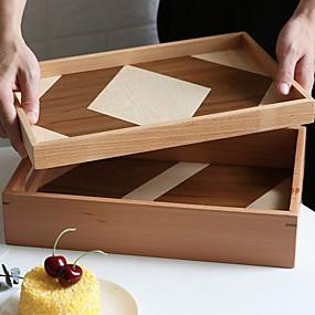voordelige Opbergen en Organisatie-combineren houten dienblad nordic style hit kleur dienblad met / zonder handvat houten theebak bak fruitschaal