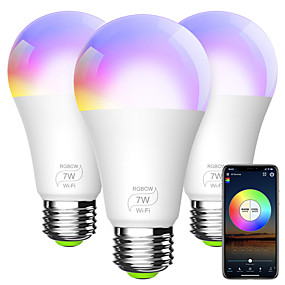 abordables Ampoules Intelligentes LED-ampoule intelligente a19 e26 rgbcw wifi dimmable lumières led multicolores compatibles avec alexa google home et ifttt (aucun hub requis) 7w (équivalent 60w)
