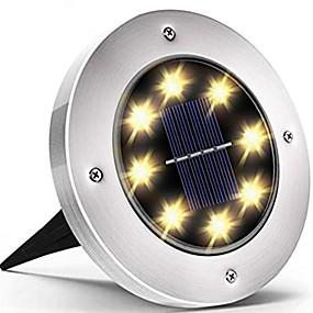 رخيصةأون LED الأضواء الشمسية-أضواء الحديقة الشمسية في الهواء الطلق 8 الصمام أضواء القرص للماء في الهواء الطلق إضاءة المشهد في الهواء الطلق ل الحديقة الفناء مسار الممر سطح السفينة الممشى ضوء الفيضانات
