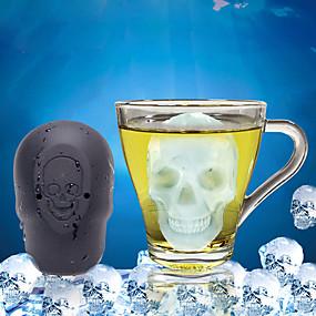 ieftine Ustensile Bucătărie & Gadget-uri-Halloween grătar de gheață tort de copt un singur orificiu craniu grilă de gheață silice gel mucegai de gheață mucegai instrumente de gheață corp complet silicon drăguț petrecere seară băutură