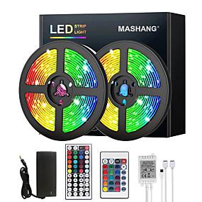 ieftine Benzi Lumină LED-mashang 5m 10m 15m 20m lumini cu bandă led rgb dc12v lumini led schimbare de culoare flexibilă smd 2835 cu telecomandă ir și adaptor 100-240v pentru dormitor bucătărie tv lumini spate DIY deco