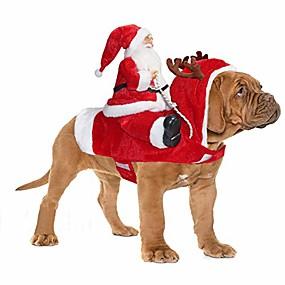 preiswerte Haustierzubehör-Santa Hund Kostüm Weihnachten Haustier Kleidung Santa Claus Reiten Haustier Cosplay Kostüme Party verkleiden Hunde Katzen Outfit für kleine mittelgroße Hunde Katzen