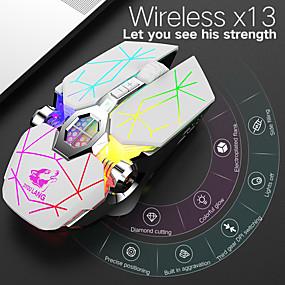 baratos Mouses & Teclados-litbest x13 sem fio bluetooth sem fio 2.4g mouse óptico para jogos mouse recarregável multi-cores retroiluminado 2400 dpi 3 níveis de dpi ajustáveis 6 teclas