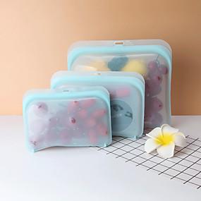 Χαμηλού Κόστους Κουζίνα και τραπεζαρία-3pcs / set stasher επαναχρησιμοποιήσιμη τσάντα φαγητού σιλικόνης και τσάντα αποθήκευσης σνακ