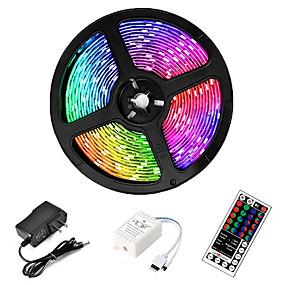 ieftine Benzi Lumină LED-ZDM® 5m Bare De Becuri LED Rigide 300 LED-uri SMD 2835 8mm 1 44 Controlul telecomenzii 1set RGB Rezistent la apă Ce poate fi Tăiat Decorativ 12 V / IP65 / De Legat / Auto- Adeziv