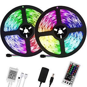 ieftine Benzi Lumină LED-LOENDE 2x5M Fâșii De Becuri LEd Flexibile Bare De Becuri LED Rigide Fâșii RGB 600 LED-uri 2835 SMD 8mm 1set RGB Crăciun Anul Nou Ce poate fi Tăiat Petrecere Decorativ 100-240 V / Auto- Adeziv