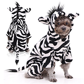 halpa Lemmikkieläinten Tarvikkeita-Koirat Kissat Asut Seepra Cosplay Talvi Koiran vaatteet Mustavalkoinen Asu Flanellikangas XS S M L XL XXL