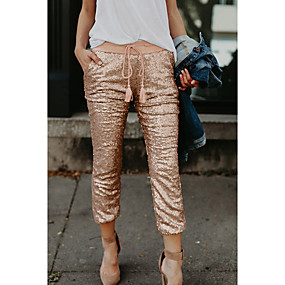 cheap Women's Pants-Women's Basic Daily Slim Chinos Pants Solid Colored Dusty Rose Sequins Outdoor Winter Gold S M L