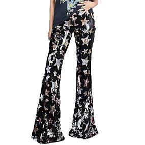 cheap Women's Pants-Women's Basic Club Loose Chinos Pants Print Sequins Quick Dry High Waist Black S M L