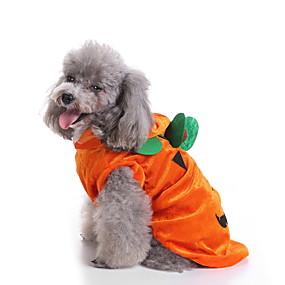 economico Prodotti Per Animali-Prodotti per cani Costumi Halloween Costumi T-shirt Zucca Casuale / sportivo stile sveglio Natale Feste Abbigliamento per cani Traspirante Giallo Costume Poliestere S M XL