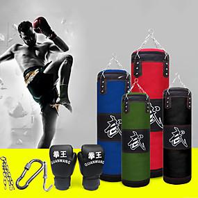 ieftine Exerciții & Fitness-Sac de Box Set de bagaje grele With 1 Umeraș Manusi de box Curea de lanț detașabilă Sac de Box pentru Taekwondo Box Karate Arte martiale Muay Thai Ajustabil Durabil Gol Antrenament forță 5 pcs Negru