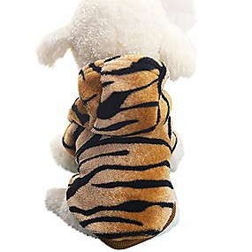 preiswerte Haustierzubehör-fitfulvan Abstand! Haustier Kleidung Hund Katze niedlichen Tiger Mantel Kleid (Kaffee, XL)