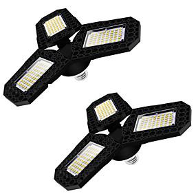 ieftine Becuri LED Corn-2 buc lumina de garaj cu led cu trei frunze lumina de tavan deformabilă pentru atelierul de depozitare acasă Lampă de deformare pliabilă 360 grade panouri reglabile cu mai multe poziții ac85-265v