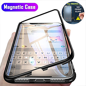 cheap iPhone 12 Case-Magnetic Case For Apple iPhone 12 / iPhone 12 Mini / iPhone 12 Pro Max Clear 360 Protection Shockproof / Flip / Protective Case Transparent Full Body Double Sided Glass Hard Tempered Glass
