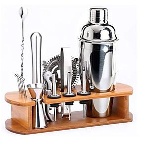 Недорогие Всё для кухни и столовой-набор для бармена миксер для коктейлей из нержавеющей стали 350 мл набор инструментов для бара со стильной бамбуковой подставкой идеальный домашний набор для барменов и набор для коктейлей для мартини