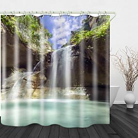 ieftine Accesorii de Baie-Perdă de duș din țesătură impermeabilă cu imprimeu iaz de munte pentru decorarea casei perdele de cadă acoperite căptușeală include cu cârlige