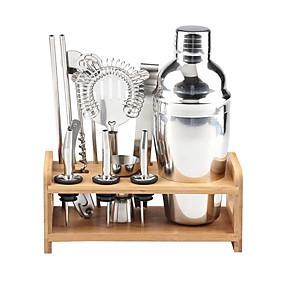 ieftine Produse de Bar-set de instrumente izolat pentru cocteil mixer pentru barman mixer pentru cocteil mixer din oțel inoxidabil 550ml set de instrumente cu suport elegant din bambus set perfect de barman pentru acasă și