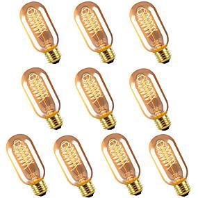 ieftine Becuri Incandescente-10buc 6buc 4buc vintage edison bec e27 t45 40w candelabru pandantiv lumini 220v led lampă cu incandescență lampă frânghie suport e27
