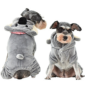 economico Prodotti Per Animali-Prodotti per cani Cappottini Tuta Canguro Casuale / sportivo stile sveglio Casual Inverno Abbigliamento per cani Traspirante Grigio Costume Pile XS S M L XL XXL