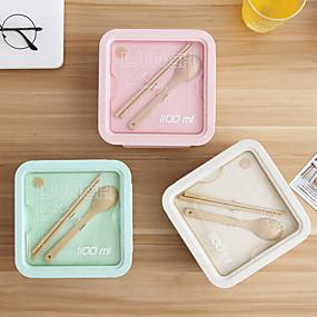 ieftine Stocare și Organizare-cutie de prânz bento 800ml / 1100ml cutie de depozitare pentru fructe pentru alimente pentru picnic pentru copii cutii de prânz separate paie de grâu japoneze portabile pentru adulți