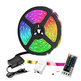 ieftine Benzi Lumină LED-ZDM® 5m Bare De Becuri LED Rigide Fâșii RGB 300 LED-uri 2835 SMD 8mm 1 44 Controlul telecomenzii 1 cabluri DC 1set RGB Ce poate fi Tăiat Petrecere Decorativ 12 V / Auto- Adeziv