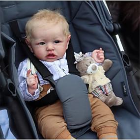 hesapli Oyuncaklar & Hobi Gereçleri-22 inç Yeniden Doğmuş Bebekler Bebek ve Yürüme Evresi Oyuncakları Erkek Bebeklerin Yeniden doğmuş bebek bebek Saskia canlı El Yapımı Simülasyon El Uygulamalı Kirpikler Disket kafa Kumaş Silikon Vinil