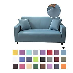 Χαμηλού Κόστους Λευκά είδη σπιτιού-Πλαστικό κάλυμμα καναπέ από συμπαγές χρώμα από μικροΐνες - μαλακό εντοιχισμένο προστατευτικό επίπλων με έπιπλα με ελαστικό πάτο για παιδιά, κατοικίδιο ζώο
