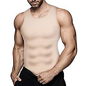 baratos Exercício e Fitness-homem emagrecimento corpo shaper colete compressão camisa abs abdômen shapewear treino camiseta regata (grande, tops bege)