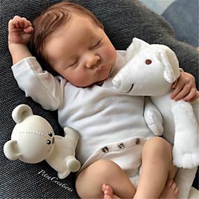 hesapli Oyuncaklar & Hobi Gereçleri-20 inç Yeniden Doğmuş Bebekler Bebek ve Yürüme Evresi Oyuncakları Yeniden doğmuş bebek bebek Levi Yeni doğan canlı El Yapımı Simülasyon Disket kafa Kumaş Silikon Vinil Giysi ve Aksesuarlarla Kız
