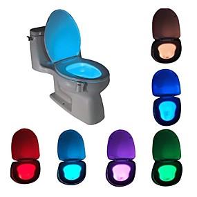 ieftine Lumini Nocturne LED-Senzor de mișcare activat de mișcare cu lumină de noapte cu led cu toaletă de schimbare impermeabilă în 8 culori pentru lumina scaunului de toaletă de siguranță pentru copii
