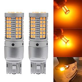 Недорогие Тормозные огни-2шт авто led canbus p21w py21w w21w t20 led 7440 s25 1156 ba15s bau15s лампы 3030 69smd автомобильные указатели поворота янтарный